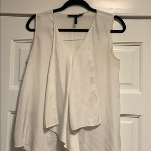 BCBG white silk like draped tank top size s